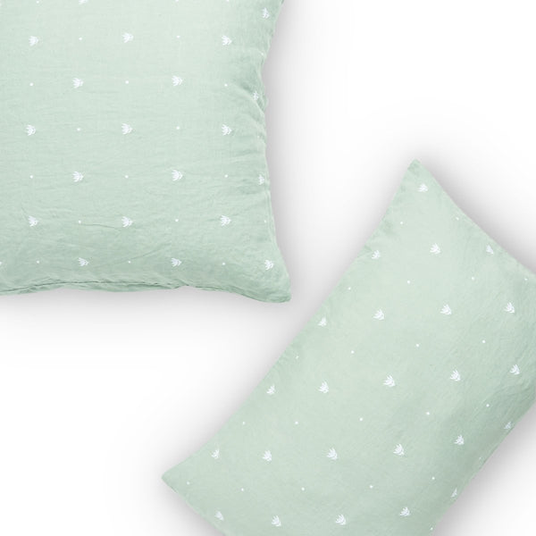 Embroidered Wasabi Pillowcase Set
