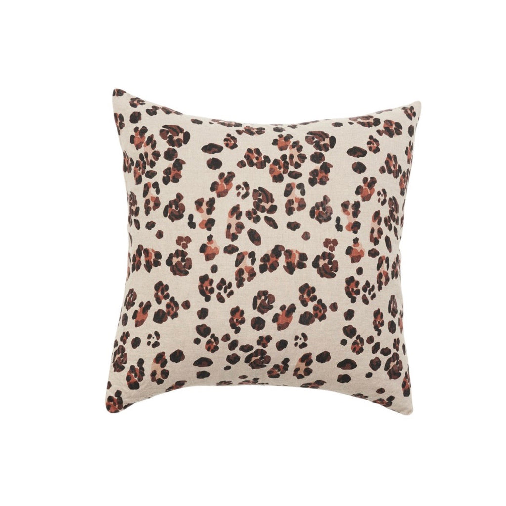 Leopard Print Linen Cushion
