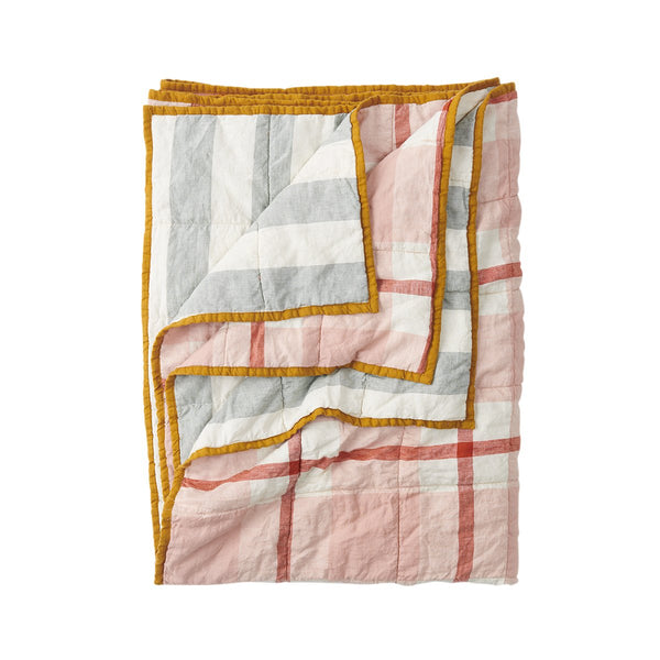 King - Double Sided Quilt - Floss/Fog Stripe