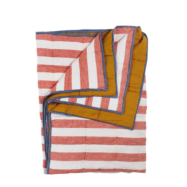 Cherry Stripe/Turmeric Double Sided Quilt