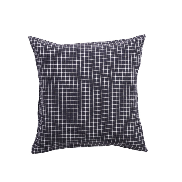 Navy Grid European Pillowcase Set