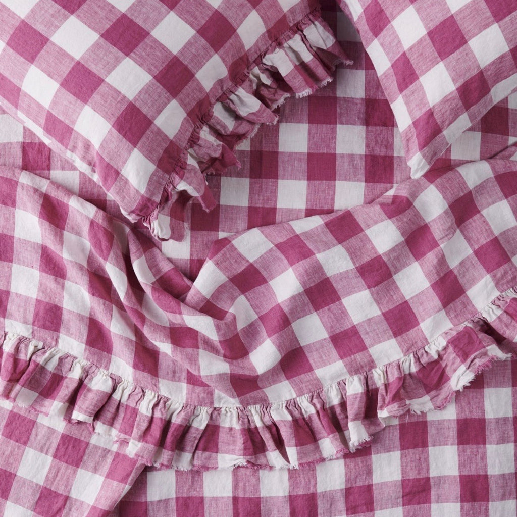 Fuchsia Gingham Flat Sheet