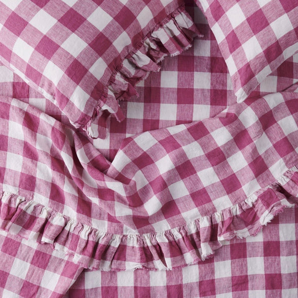 Fuchsia Gingham Fitted Sheet