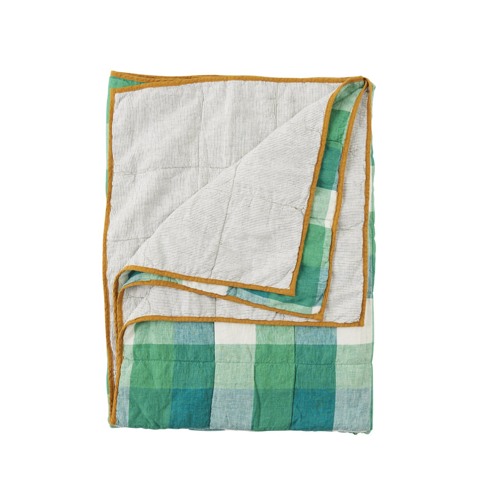 Apple Green Check/ Pinstripe Double Sided Quilt