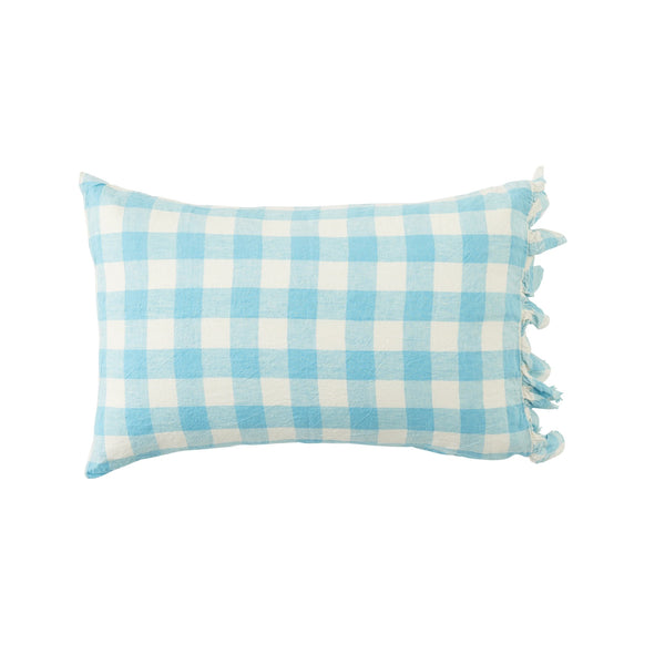 Ocean Blue Gingham Standard Pillowcase Set