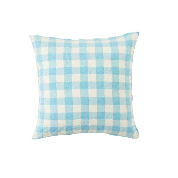 Ocean Blue Gingham European Pillowcase Set