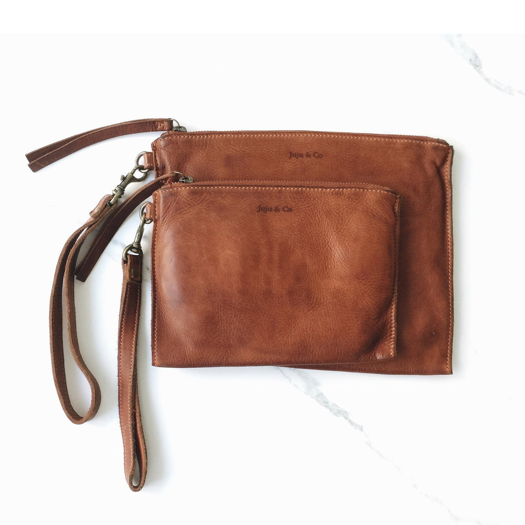 Small Flat Pouch- Cognac
