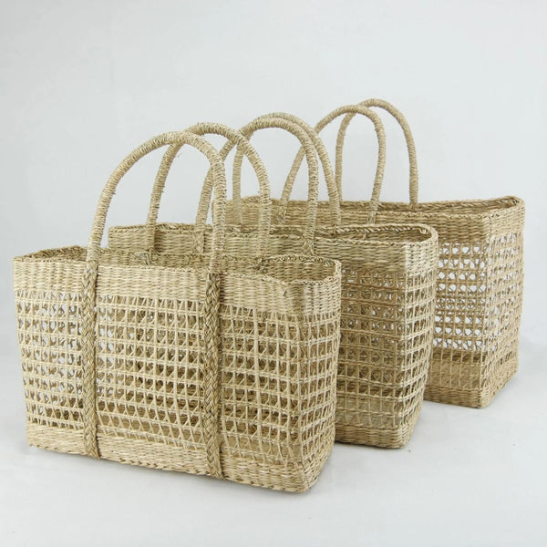 Rectangle Seagrass Net Basket - Medium