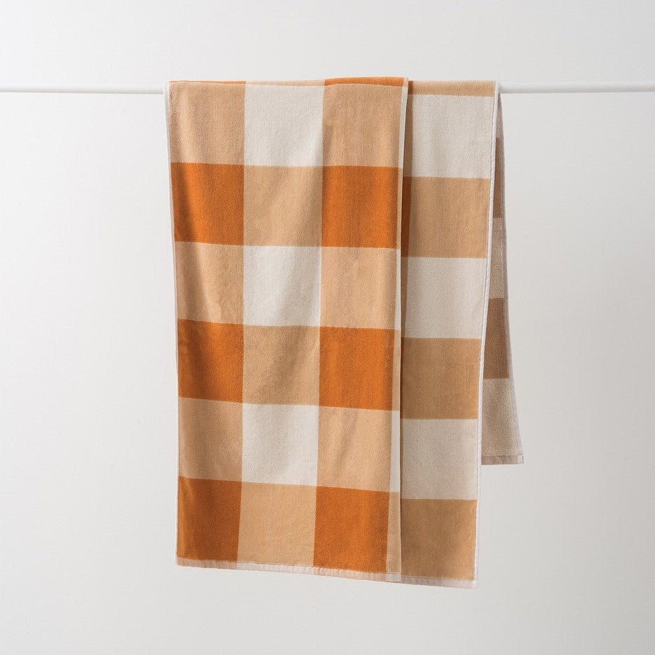 Gingham Beach Towel - Pumpkin/Dijon
