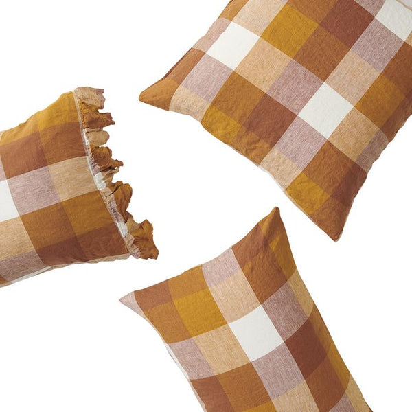Biscuit Check - Pillowcase Set with Ruffle