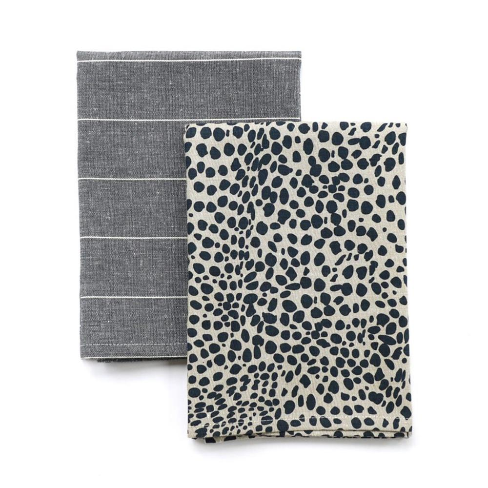 Animal Print Tea Towel  Pack - Navy Blue