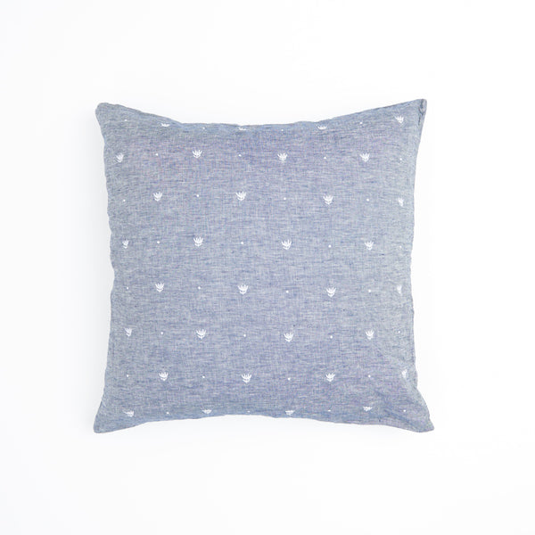 Embroidered Denim European Pillowcase Set
