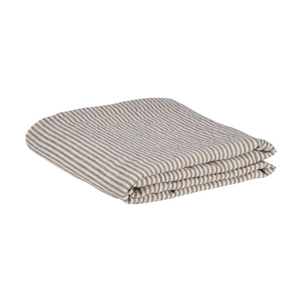 Linen Fitted Sheet - Moss Stripe King