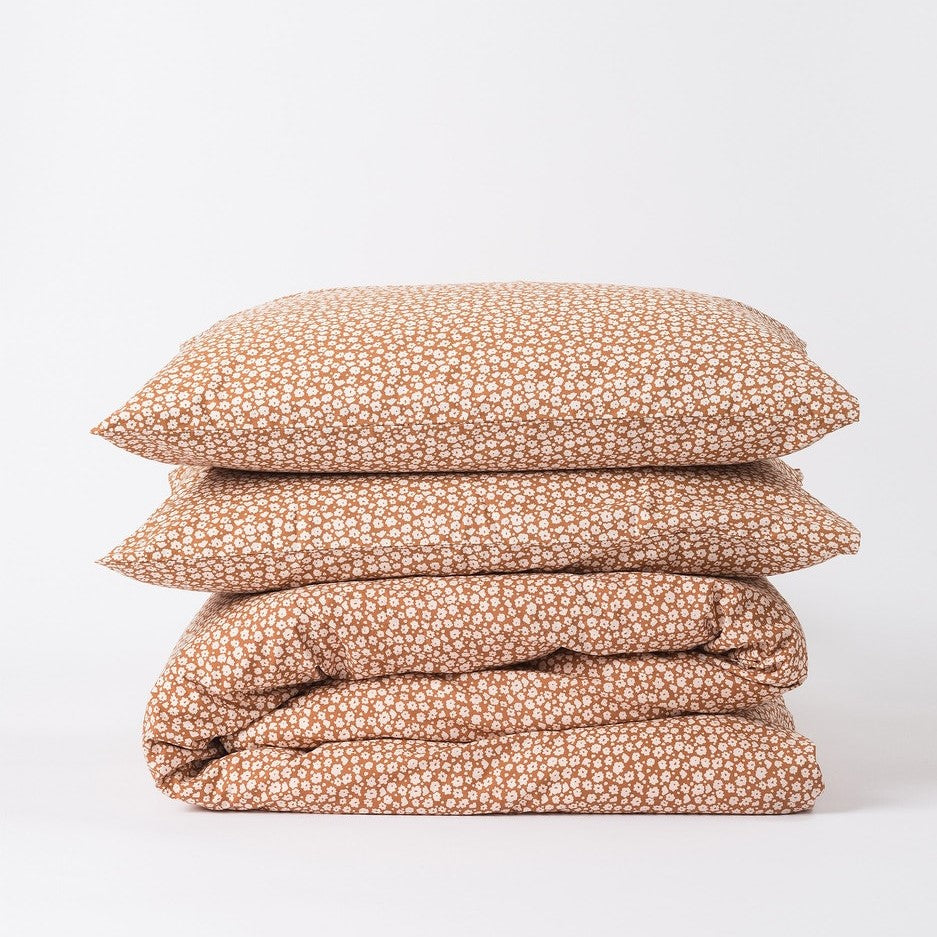 Forget Me Not - Duvet Cover Toffee/Nougat Queen