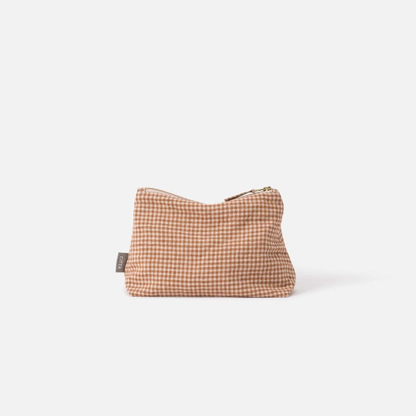 Gingham Linen Utility Bag Malt/Natural