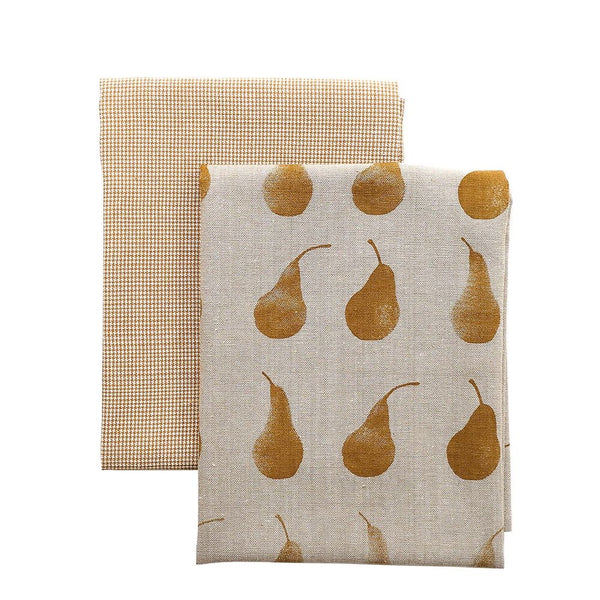 Pear Tea Towel Pack - Mustard