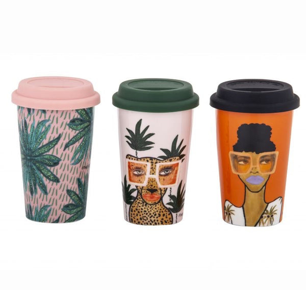 Jungle Queen Double Wall Travel Mug 3 assorted Designs