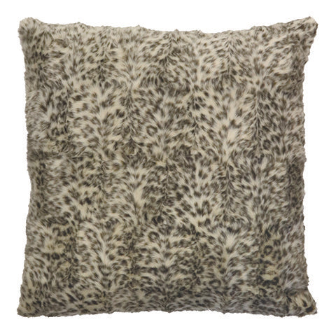 Snow Leopard Faux Fur Cushion