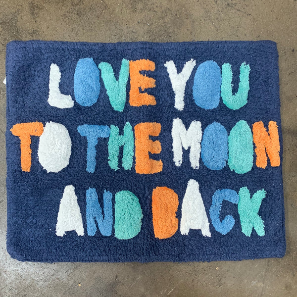 "Bathmat ""Love you to the Moon and Back"" - Navy Multi"