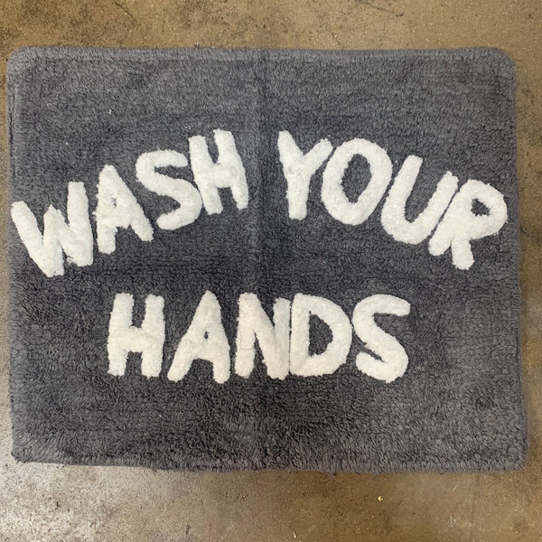 "Bathmat ""Wash your Hands"" - Charcoal + Off White"