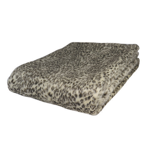 Snow Leopard Faux Fur Throw Rug