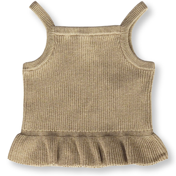 Ribbed Frill Top - Goldie