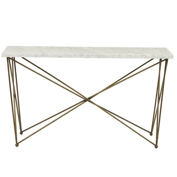 Elle Criss Cross Console - Brass White