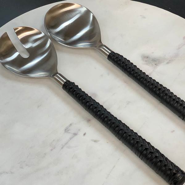 Salad Servers - Black Plait (Set of 2)