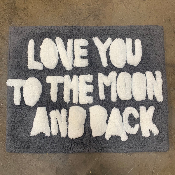 "Bathmat ""Love you to the Moon and Back"" - Charcoal + Off White"