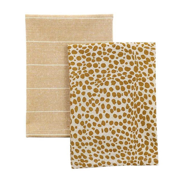 Animal Print Tea towel Pack Mustard