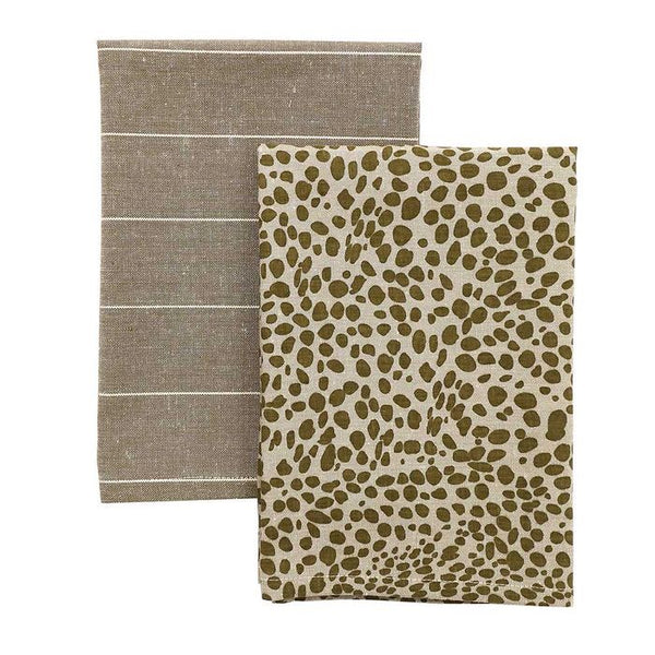 Animal Print Tea Towel Pack Khaki
