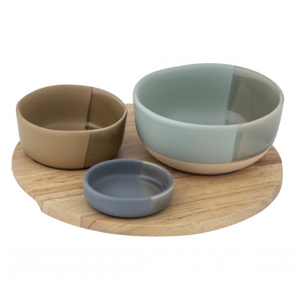 3 Piece Chameleon Bowl Set on Round Tray