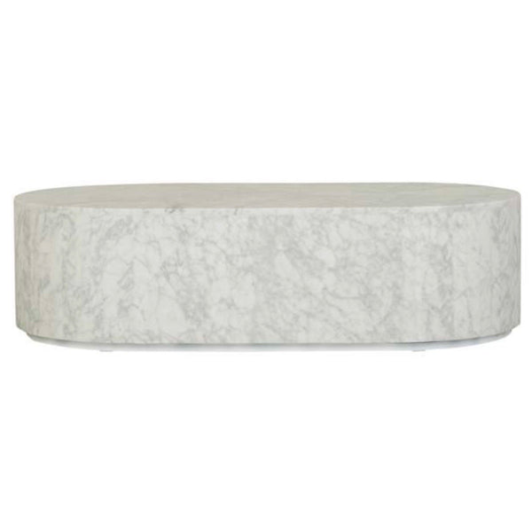 Elle Block Oval Coffee Table - Matt White