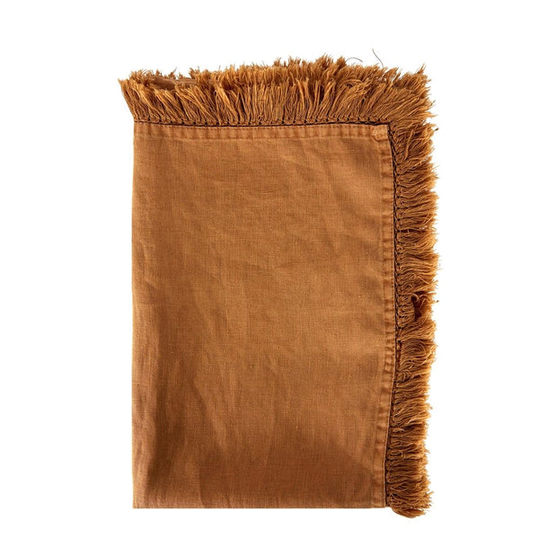 Linen Tassel Table Runner - Camel