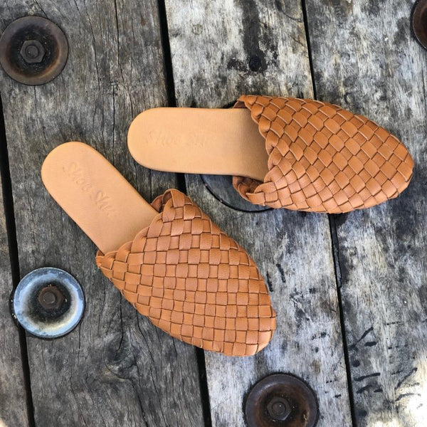 Leather Woven Slide - Camel