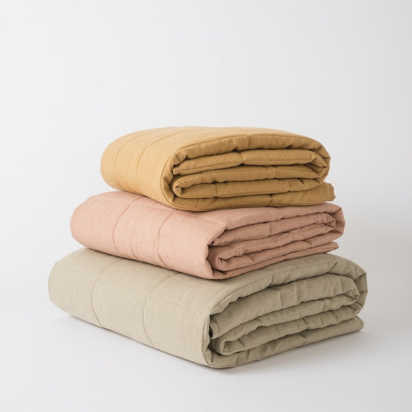 Linen Quilted Blanket - Iced Tea Small