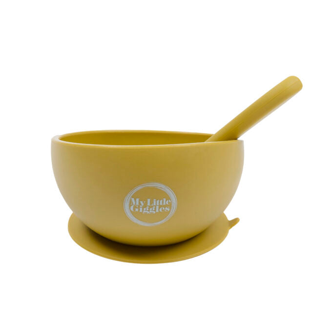 Silicone Bowl & Spoon Set - Mustard