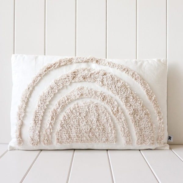Tufted Cushion - Natural on White Rainbow