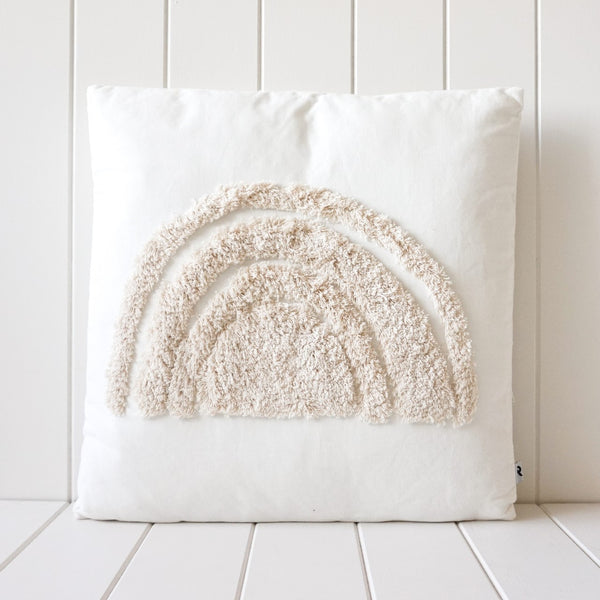 Tufted Cushion - Natural on White Rainbow Square