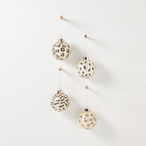 Symphony Hanging Glass Bauble - Animal Print Set of 4