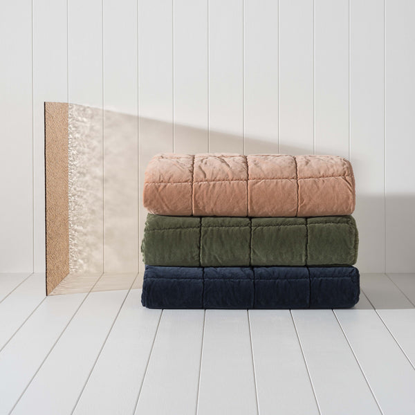 Velvet Quilted Throw - Midnight