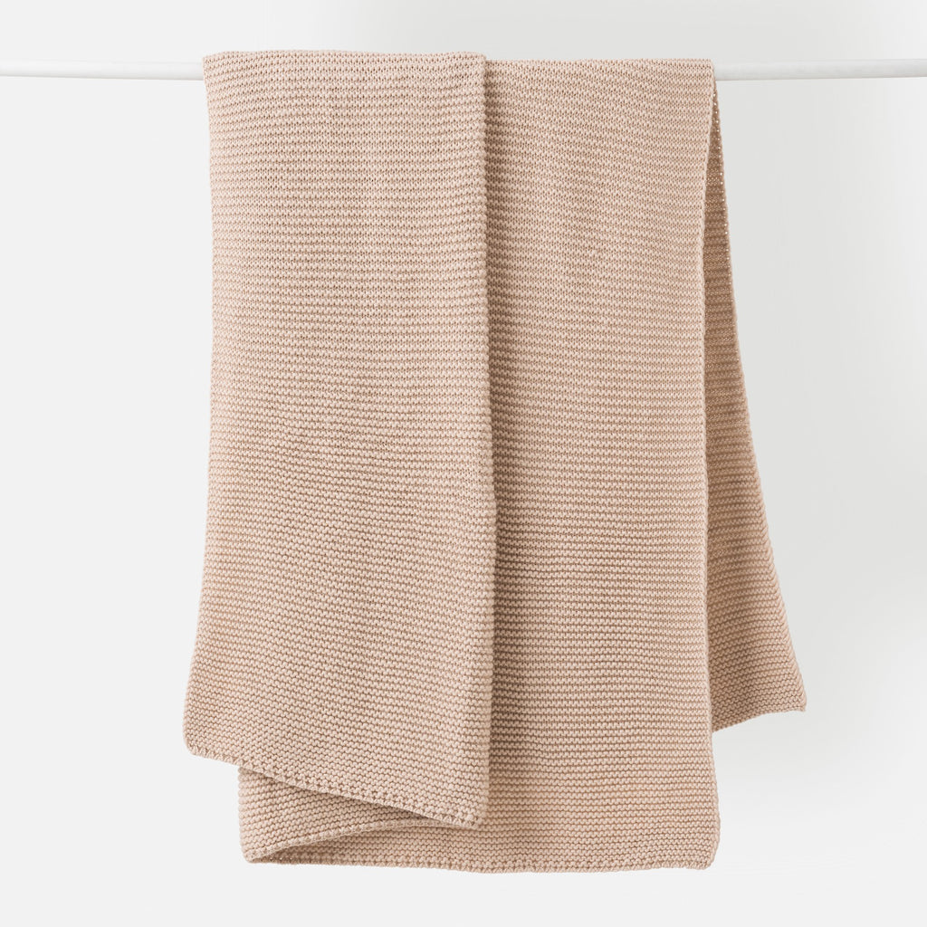 Purl Knit Wool Throw - Rice