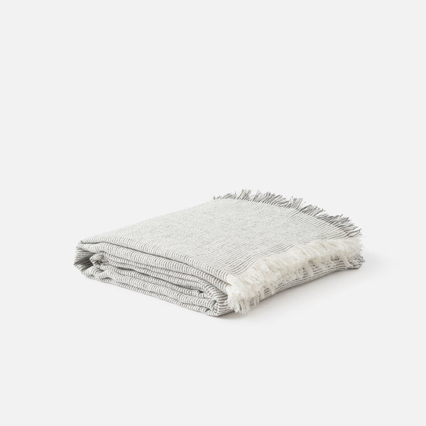 Pinstripe Linen Bedspread - Natural/Carbon Queen