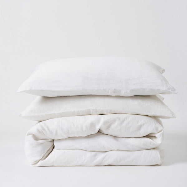 Sove Linen Duvet Cover - White Queen