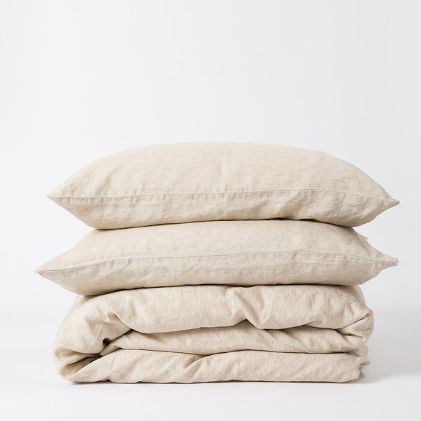Sove Chambray Linen Duvet Cover - Oatmeal King