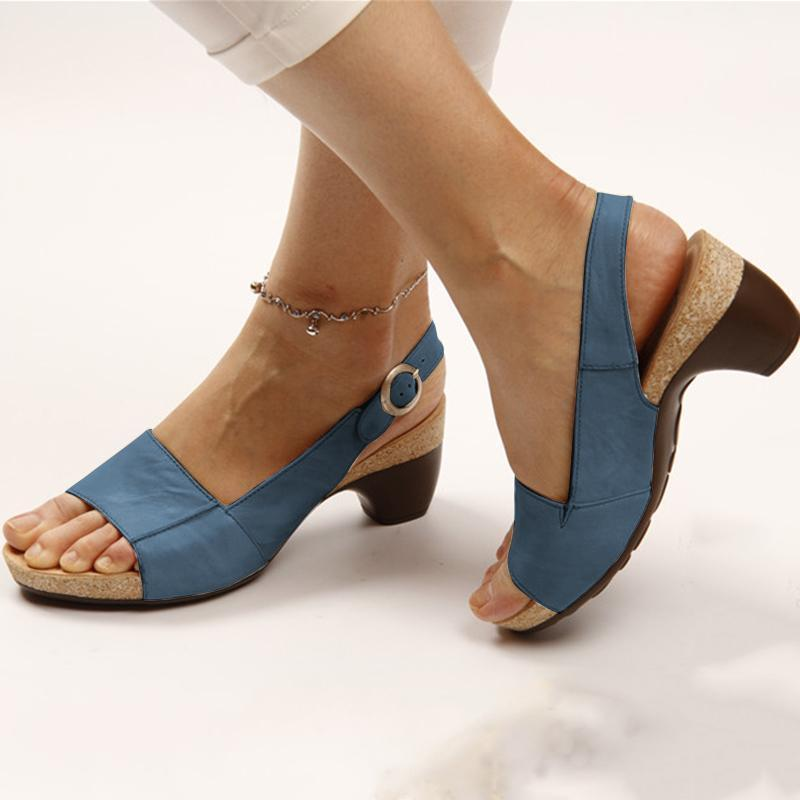 2019 Elegant Comfortable Low Chunky Heel Summer Sandals