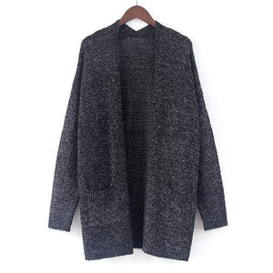 New Cotton Solid Cardigan Long Sleeve Knitted Sweater