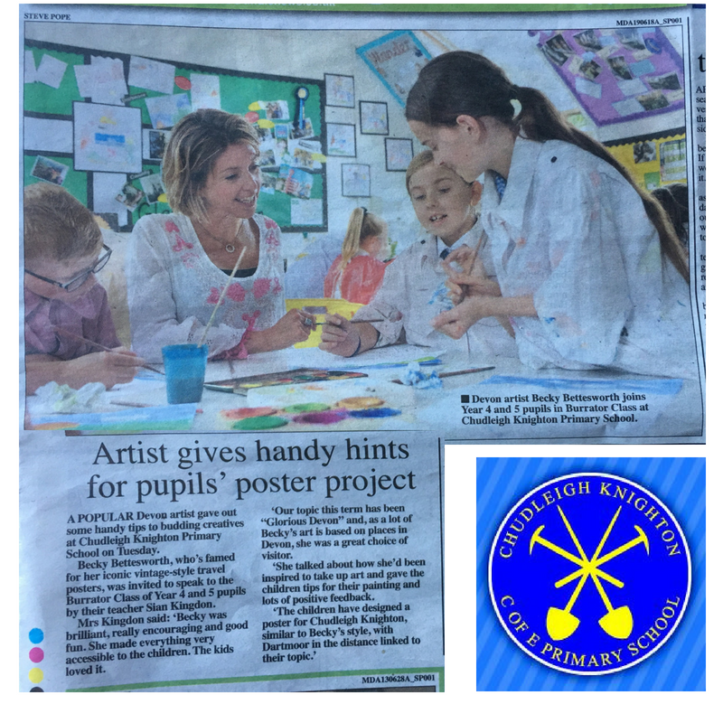 BECKY VISITS CHUDLEIGH KNIGHTON SCHOOL ART PROJECT