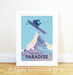 * * * N E W * * * ESCAPE TO PARADISE VINTAGE STYLE SKIING PRINT AND POSTER