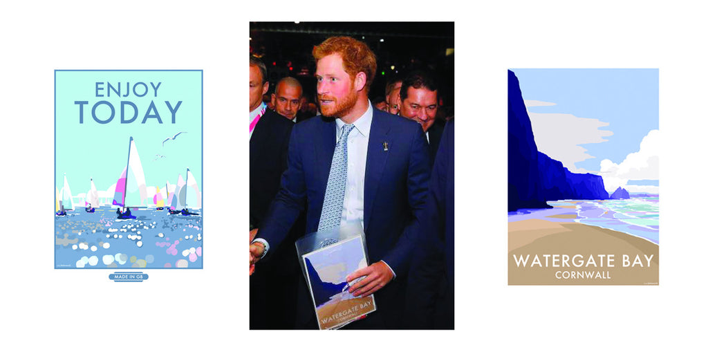 Joy as Prince Harry accepts Becky's gift of her prints
